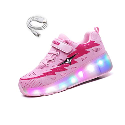 Ehauuo Kids USB Charging Wheel Shoes with Lights LED Roller Skate Shoes Sneakers for Unisex Child Girls Boys Beginners Gift(3 M US Little Kid, A-Pink) ()