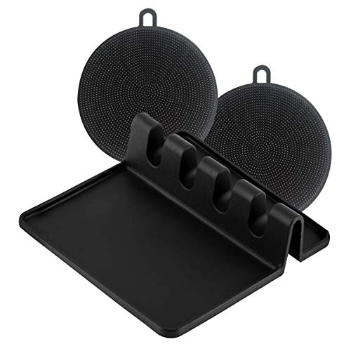 3 Pieces Set: Spoon Rest, Silicone Sponge (2pcs), Heat Resistant, Multiple Utensils Holder, Silicone Spoon Rest for Stove Top (BLACK)