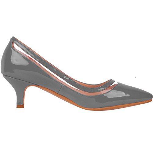 Calaier Damen Experience 9.5CM Stiletto Schlüpfen Pumps Schuhe Grau