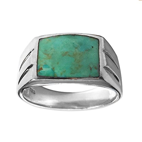 13x10mm Genuine Turquoise SouthWest Men's Sterling Silver Ring (11) (Gallery Silver Ring Turquoise)