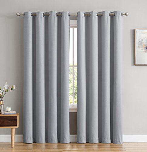 HLC.ME Textured 100% Full Blackout Room Darkening Thermal Lined Curtain Grommet Panels For Bedroom - Energy Efficient, Complete Darkness, Noise Reducing - Set of 2 (52