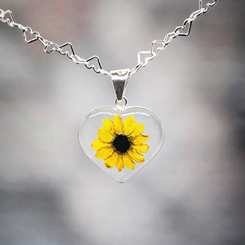 Sterling HEART Necklace with a Real Natural Miniature SUNFLOWER (Symbol of Happiness and Light) in a TRANSPARENT Background with a 17.71 inches Sterling Silver Chain - Perfect LOVE GIFT!