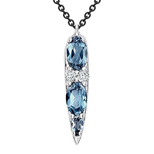 Nikos Koulis femme  18carats (750/1000)  Or blanc|#Gold Ovale   Bleu Topas Diamant