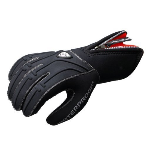 (New Tusa Waterproof 5mm 5-Finger Stretch Neoprene Gloves (Large) with GlideSkin Interior and a Long Zipper for easy Donning)