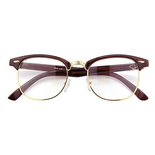 Happy Store CN56 Vintage Inspired Classic Horn Rimmed Half Frame Nerd UV400 Clear Lens Glasses,Brown