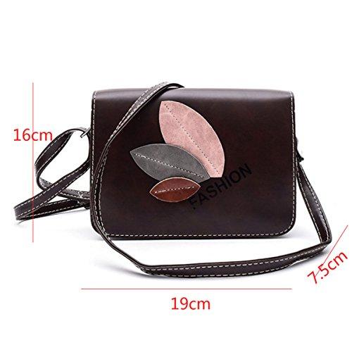 Moda De Las Señoras De Cuero Informal Mini Bolso De Hombro,Black Leather