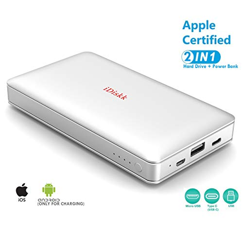 iDiskk MFi Certified 1TB (1024GB) External Hard Drive Storage for iPhone 5/6/7/8,XR,XS MAX,iPad Pro and MacBook and PC,USB+USB C Data Photos Backup Flash Drive (APP Management for iOS 7/8/11/12)