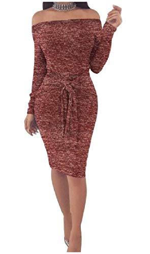 Coolred-femmes Une Épaule Ressort À Manches Longues Étape / Automne Au Large Des Bretelles Sexy Robes Vin Rouge