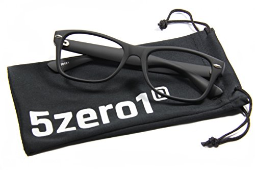 5Zero1 Retro 80's Unisex Wayfarer Rxable Prescription Ready Optical Eyewear Fashion Glasses (Classic Matte Black Glasses)