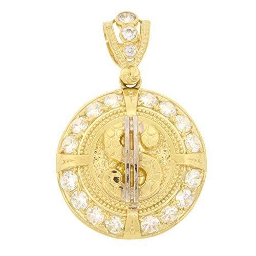 Shopjw Men's 10k Yellow Gold Round Cut Cubic Zirconia Round Nugget Dollar Sign $ Medallion Pendant, 1.80