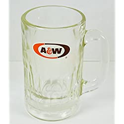 "A&W Root Beer Tall Clear Glass Drinking Mug Cup 5 3/4"" tall"