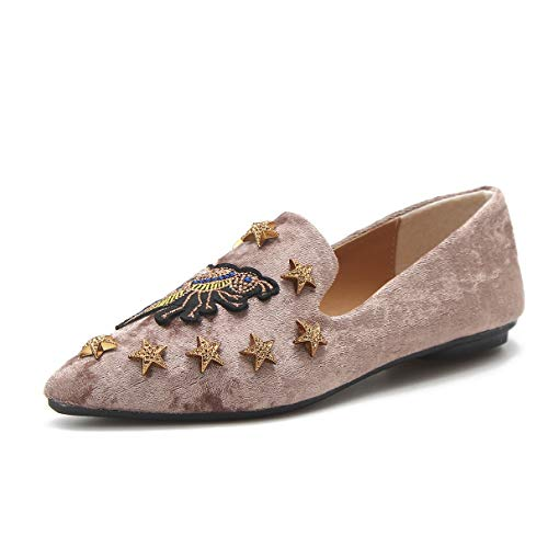 Owen Moll Women Flats, Casual Embroider Pointed Toe Slip-on Loafers Velvet Shoes by Owen Moll