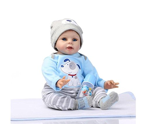 22inch 55cm Reborn Baby Doll Puppy Pattern Set Boy Soft Silicone Magnetic Lovely Lifelike Cute Lovely Baby Cute Doll Birthday Gifts Boy&Girl Toys