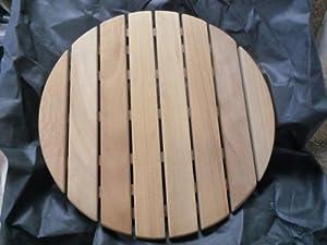 Showerlux Anti Slip Small Round Solid Oak Wooden Shower