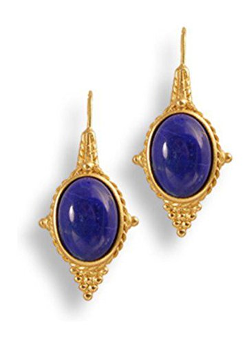 10 cttw Gold Plated Natural Lapis Lazuli 22k Gold Plated Euro Wire Drop Earrings, Museum Jewelry