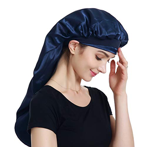 Satin Head Scarf Braid Bonnet Hair Wrap for Sleeping Navy ()