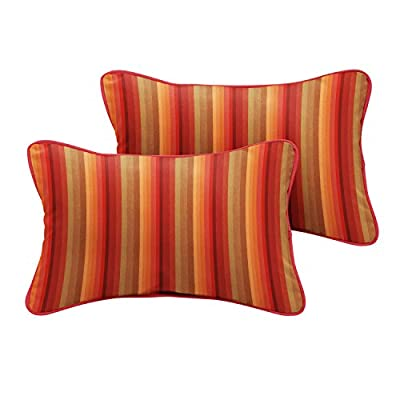 "Mozaic Company Sunbrella Indoor/ Outdoor 18"" x 12"" Corded Lumbar Pillows, Astoria Sunset Stripe and Dupione Crimson, Set of 2 - Sunbrella acrylic fabric is weather, mold, stain, and fade resistant with UV protection 