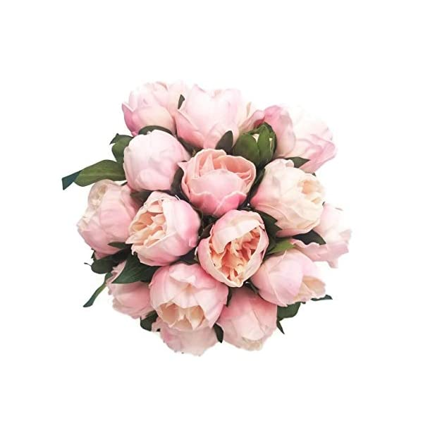 Meide Group USA 14″ Real Touch Latex Peony Bunch Artificial Spring Flowers for Home Decor, Wedding Bouquets, and centerpieces (6 PCS) (Shabby Chic Pink)