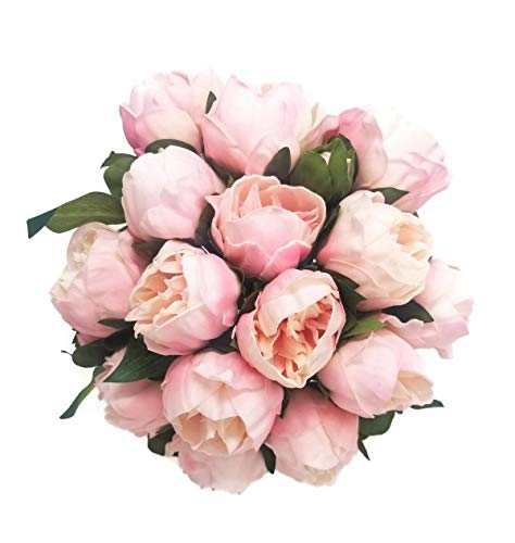 Meide Group USA 14 Real Touch Latex Mini Peony Bunch Artificial Spring Flowers for Home Decor, Wedding Bouquets, and centerpieces (6 PCS) (Shabby Chic Pink)