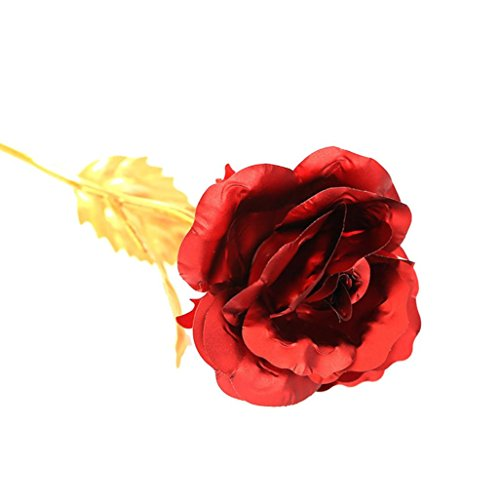 Hot Sale!!Lover's Artificial Flower,Gold Foil Rose For Birthday Creative Gift (red) (Red Roses For Lovers)
