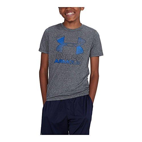 Under Armour Boys' Hybrid Big Logo T-Shirt,Black/Ultra Blue, Youth Medium