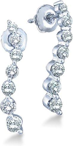 14k White Gold Round 7 Seven Diamond Dangle Twist Journey Earrings (1.0 cttw) (Earrings Round Diamond Journey)