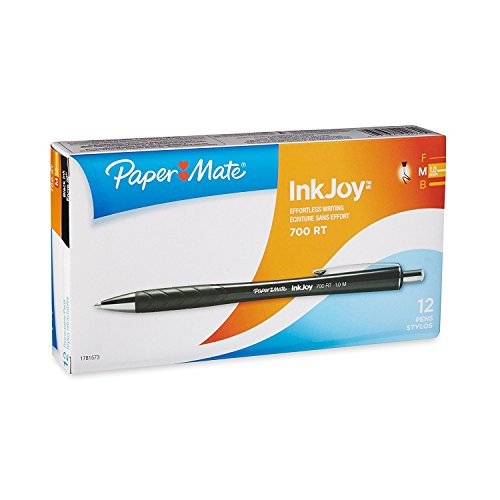 Paper Mate InkJoy 700RT Retractable Ballpoint Pens, Medium Point, Black Barrel, Black Ink, 12-Count