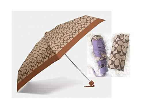 Coach Signature Mini Umbrella Silver Khaki Purple F63365