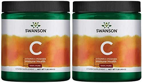 Swanson Vitamin C Powder 100% Pure Ascorbic Acid Immune System Support Skin Cardiovascular Health Antioxidant Supplement 1000 mg (per Serving) 1 lb 454 g (2 Pack)