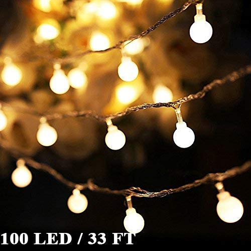 Arespark Globe String Lights 8 Mode 100LED 33foot Waterproof Decorative Starry Fairy  Lights, for Indoor Outdoor Patio Wedding Party Home Garden Bedroom, Warm White (Porch Decorating Indoor)
