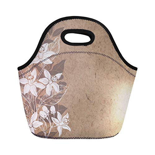 Semtomn Lunch Tote Bag Brown Floral Branches of Flowers Neroli on Kraft Place Reusable Neoprene Insulated Thermal Outdoor Picnic Lunchbox for Men Women ()