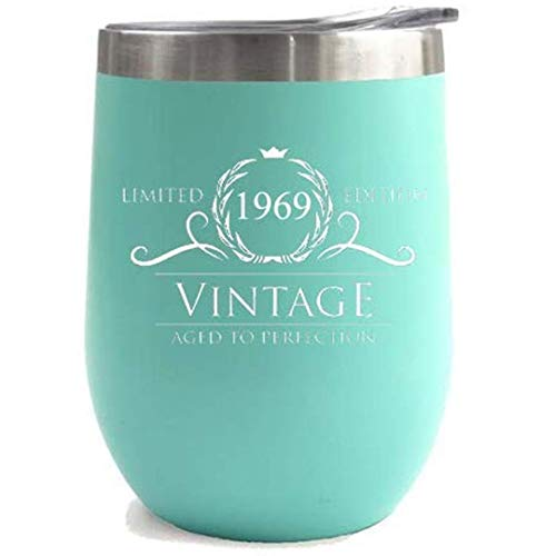 (1969 50th Birthday Gifts for Women Men | Vintage Aged to Perfection Stainless Steel Tumbler | 12 oz Mint Tumblers w Lid | Funny Gift Ideas for Him Her Husband)