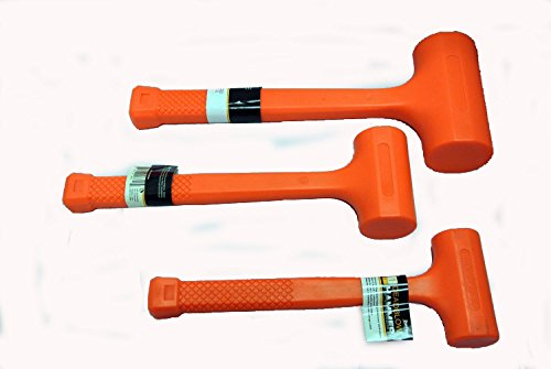 3 Pc Dead Blow Hammer Set – 1lb 2lb & 4lb Orange Unicast