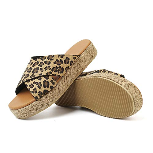 SNIDEL Espadrilles Wedges for Women Strappy Leather Sandals Platform Slides Open Toe Slippers Summer Slip on Shoes Leopard 8.5 B (M) US