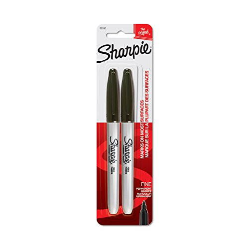 Sharpie Permanent Markers, Fine Point, Black, 2 Count
