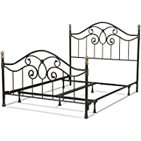 Dynasty Complete Bed with Arched Metal Duo Panels and Scalloped Finial Posts, Autumn Brown Finish, Queen
