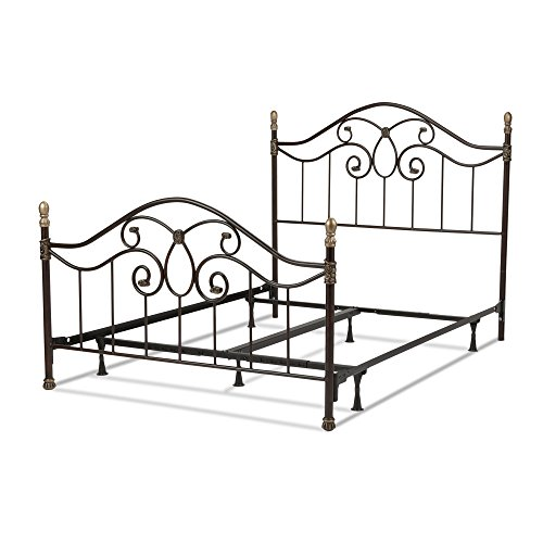 Dynasty Complete Bed with Arched Metal Duo Panels and Scalloped Finial Posts, Autumn Brown Finish, Queen - Duo Panel Headboard