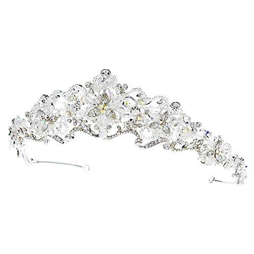 Silver Crystal Princess Bridal Tiara, Crystal Tiaras Crystal Headpieces, Bridal Headpieces by Rodeo Couture Bridal