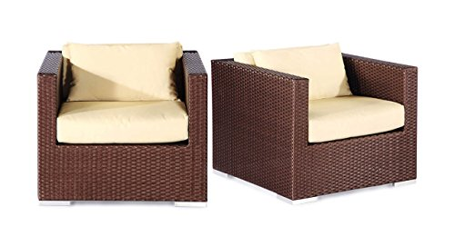 -It Outdoor Armchairs with Hilo 2 Piece Espresso Wicker Set, Ivory Cushions (Ivory Wicker Ottoman)