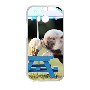 Diy Lovely Pig Phone Case for HTC One M8 White Shell Phone JFLIFE(TM) [Pattern-1]