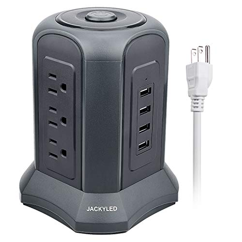 Power Strip Tower with USB Ports JACKYLED Multi-Outlets 4 USB Ports and 9 AC Outlets Surge Protector 9.8ft Extra Long Cord Electric Charging Station - Gray (Patch Usb Board)