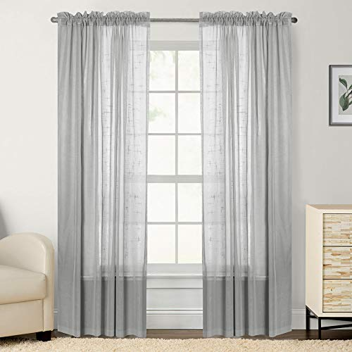 Linen Look Sheer Curtains for Bedroom 96 inch Length Window Curtain Panels Rod Pocket Window Treatment Set for Living Room (2 Panels, Light Gray)