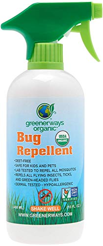 Greenerways Organic Mosquito Insect Repellent, Premium, USDA Organic, DEET-FREE, Natural, Mosquito-Repellant, Bug Spray, Clothing Safe, Baby Safe, Kid Safe, Pet Safe