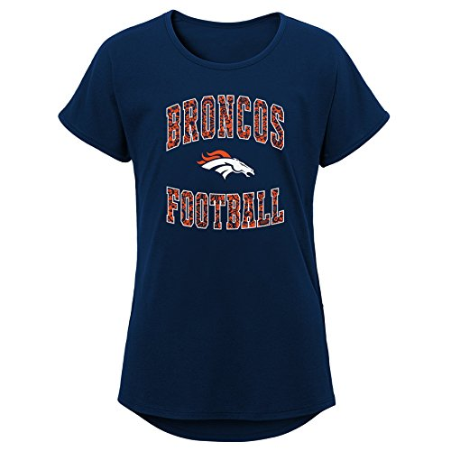 Outerstuff NFL NFL Denver Broncos Youth Girls Team Lace Short Sleeve Dolman Tee Navy, Youth Medium(10-12)