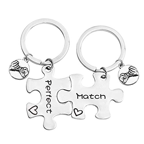 SEIRAA Couple Gift Perfect/Match Puzzle Keychain for 2 Friendship Gift Matching Jewelry Gift for Girlfriend Boyfriend Wife Husband (Perfect/Match Keychain)
