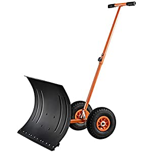 Goplus Wheeled Snow Pusher w/Angle Adjustable Handle & 10-inch Wheels, 29-inch Rolling Snow Removal Shovel (Orange)