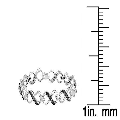 0,75carats (CT) Argent sterling Diamant Noir Pour femme infinity Cœur Tennis Bracelet à maillons 3/4ct