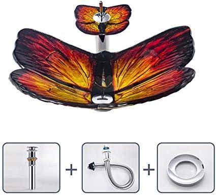 洗面化粧台シンク 蝶の形をしたデザイン強化ガラス容器シンク滝クローム蛇口コンボ、ポップアップシンクドレイン 和風 洋風 お洒落な 節水 節約 (Color : Orange, Size : 62x45x15.5cm)