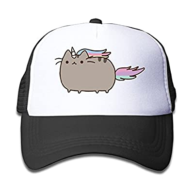 Cute Cat Rainbow Unicorn Mesh Trucker Hat Kid Adjustable Snapback Pink by akowei