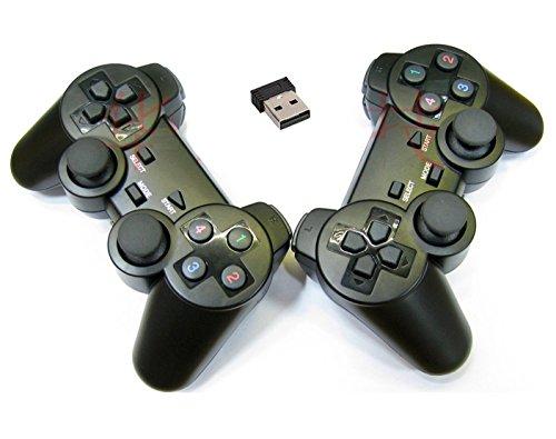 QENDDC ANG 2x USB 2.4G Wireless Dual Vibration Gamepad Controller Joystick For PC Laptop FS